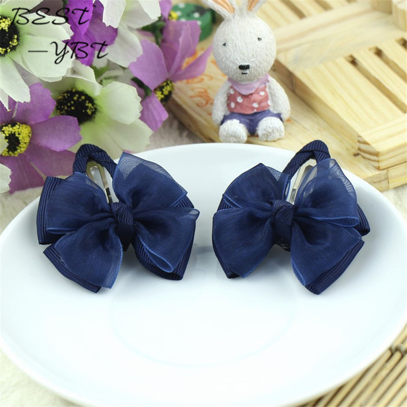 Navy Blue yarn gift children kids girls hair accessories clip hairpins barrettes   headwear   bow Retail Boutique wholesale