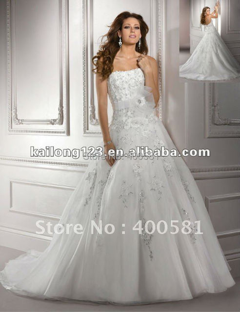 Princess Ball Gown Chapel Train Crystal Beaded Lace Flower Belt Sash ...