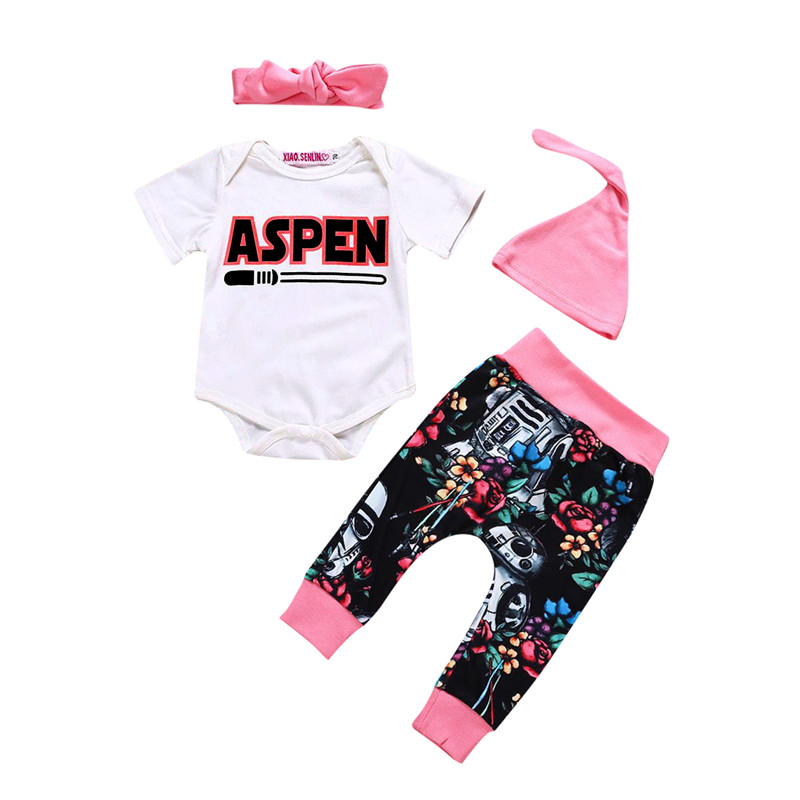 Summer Hot Sell 4PCS Newborn Baby Girls Clothes Outfit Short Sleeve Letter Romper Jumpsuit Print Long Pants Hat Headband 0-24M