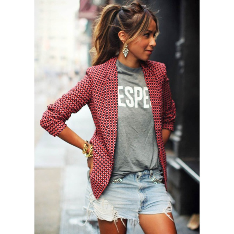 casual fashion red plaid long-sleeved coats European American women's suits women small suits jacket lapel ladies leisure suits