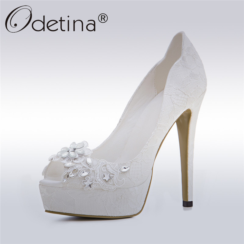 Odetina 2017 Brand Peep Toe White Wedding Shoes With Rhinestones Platform Bridesmaid Shoes Crystal Pumps High Heels Big Size 43
