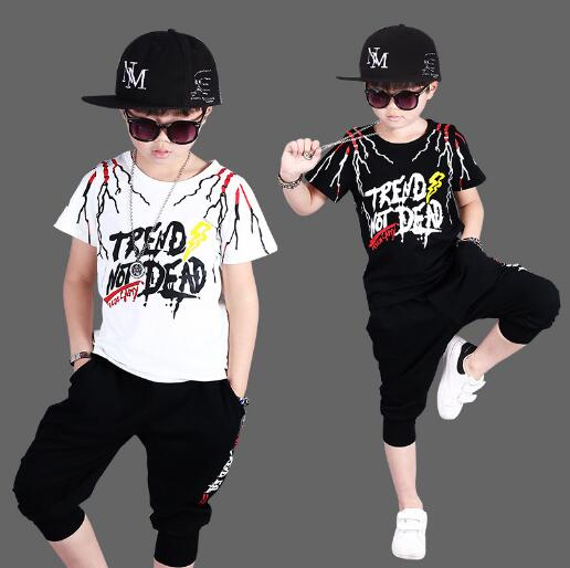 Boys Suits 2018 Summer Cotton Short Sleeve Casual Clothes Boy Set Childrens Sports Suits Kid Tracksuit Boys Clothing