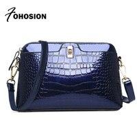 Fashion Patent Leather Woman Bag Crocodile Handbags Female Shoulder Messenger Bags Luxury Handbags Women Bags Designer