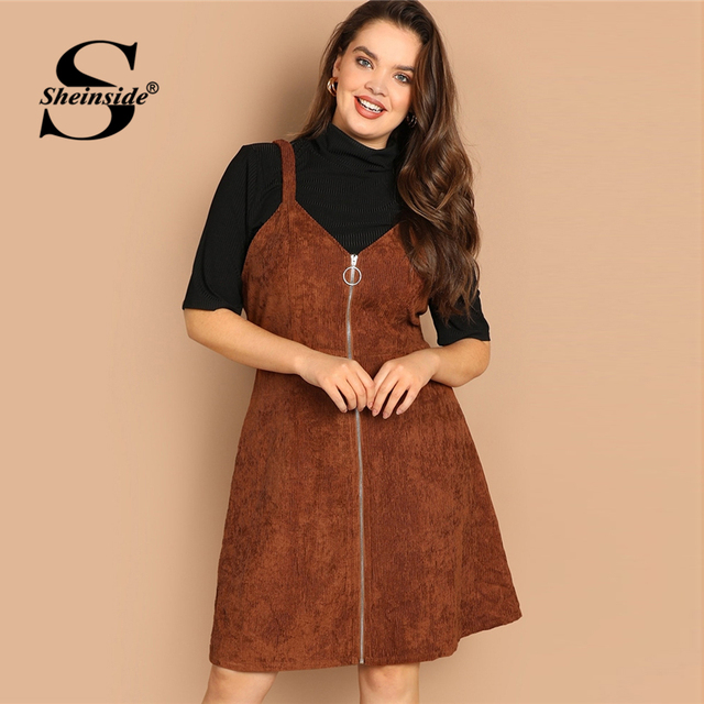 Sheinside Brown Plus Size O-ring Zip Front Corduroy Pinafore Women Dress Casual Sleeveless Ladies Dresses 2019 Fall A Line Dress