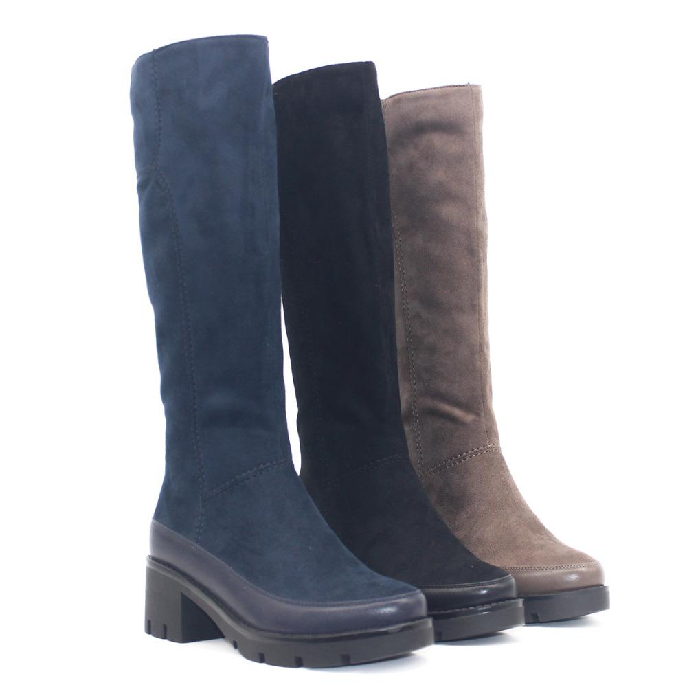 f95700f6b605 Winter Autumn 2018 Knee High Boots Women Thick Heel Black Navy Blue ...