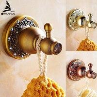 European Gold Finish Robe Hook Wall Mounted Screwed Bathroom Accessories Kitchen Clothes Key Hat Rack Bag Hanger Holder 6206