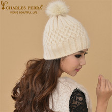 Charles Perra Women Winter Hats Caps With Big Pom Pom Warm Wool Knitted Hat Casual Fashion Elegant Beanies Skullies CD87 набор сверл metabo hss co по металлу 19шт 627157000