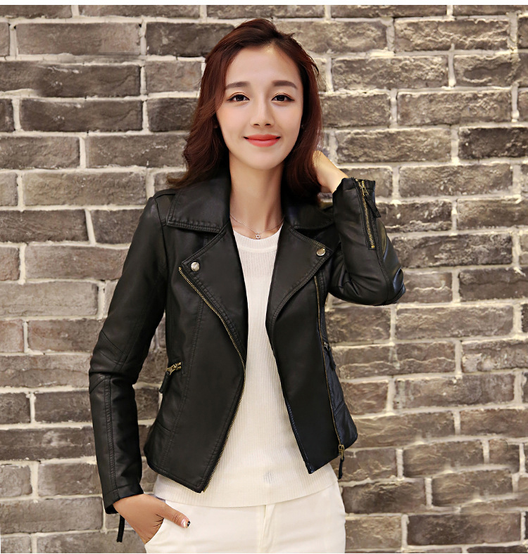 HTB1VLqcKaSWBuNjSsrbq6y0mVXa0 XS-4XL Hot Sale 2019 New Women Spring Autumn Jacket Black/Red Fashion Female Coat Slim PU Leather Short Outwear Jacket Plus Size
