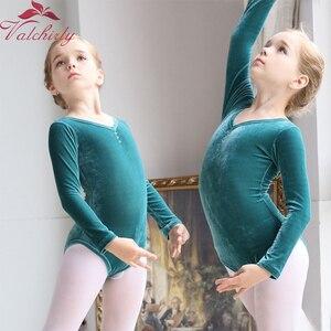 Image 3 - Z długim rękawem dla dzieci taniec baletowy trykot baleriny Party Gold Velvet odzież do tańca dla dziewczynek i małych dzieci