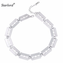 Fashion Razor Blade Choker Necklace Gold/Silver Color Adjustable Collar Rock Razor Blade Jewelry For Women N2767