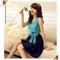 2015 FASHION Women's Stylish O-Neck Sleeveless Tank Summer Chiffon Mini Dress Ribbon With Necklace 34