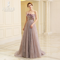 JUSERE Purple Evening Dresses Flower Strapless Long Lace Skirt A line Elegant Formal Evening Gown Long Prom Dress 2018