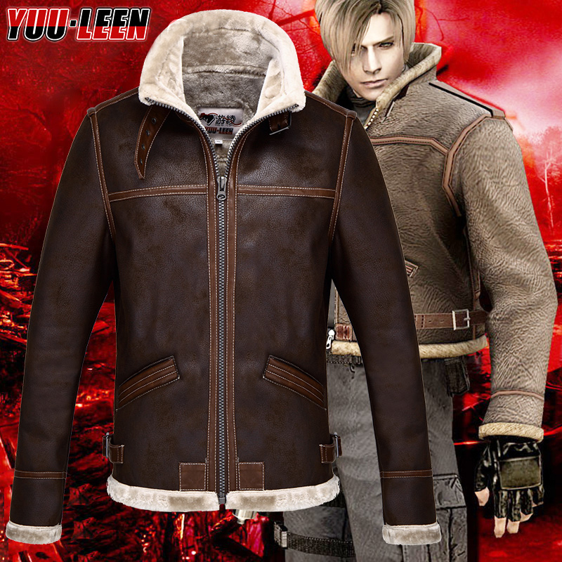 Resident Evil 4 Leon Scott Kennedy Cosplay PU Faux Fur Leather Jacket Coat Costume Free Shipping