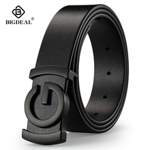 Brand Cowhide Genuine Leather Men's Belts Smooth Buckle Jeans Male Fashion Waistband