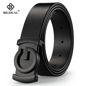 Image 1 - Brand Cowhide Genuine Leather Mens Belts Smooth Buckle Jeans Male Fashion Waistband Strap Leather Belt For Men Women