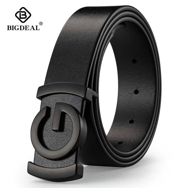 Brand Cowhide Genuine Leather Mens Belts Smooth Buckle Jeans Male Fashion Waistband Strap Leather Belt For Men Women