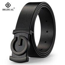 Jean en cuir véritable en cuir pour hommes et femmes, ceinture à boucle lisse, pour taille ceinture de cuir pour homme