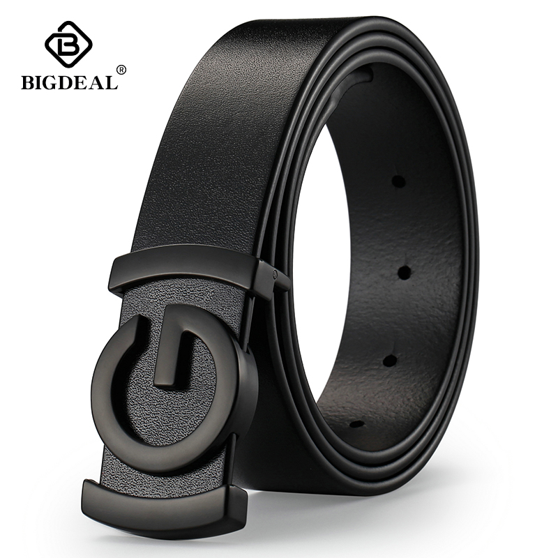 Luxury Brand Cowhide Genuine Leather Men's Belts Smooth Buckle Jeans Male Fashion Waistband Strap Leather Belt For Men Women