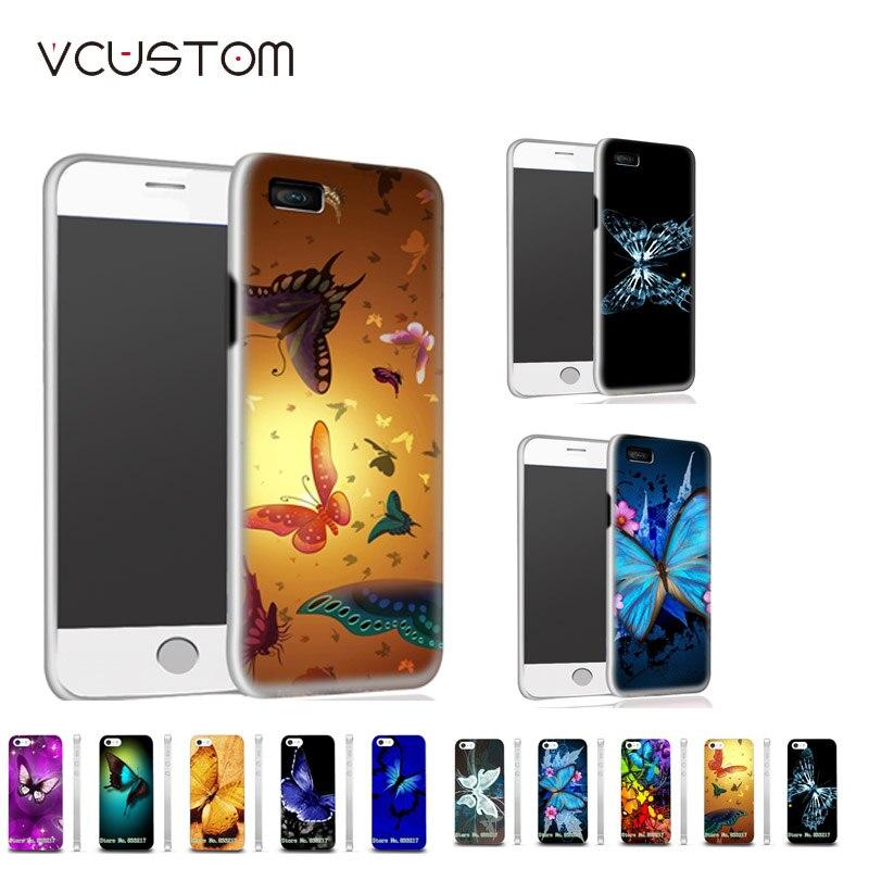 vcustom Hybrid Phone Case Blue Butterfly White Hard Cases