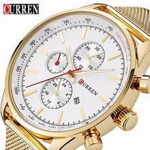 Curren 8227 Men Quartz Watch Luxury Brand Gold Mesh Strap Mens Wristwatch Casual Male Sport Clock Man Watches Relogio Masculino