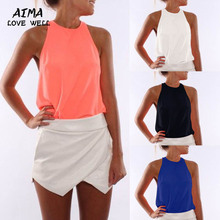 2017 New Fashion Summer Candy Color T-shirt Sexy Sleeveless Round Neck Casual Beach Vest Tee Plus size S-3XL 4 Colors