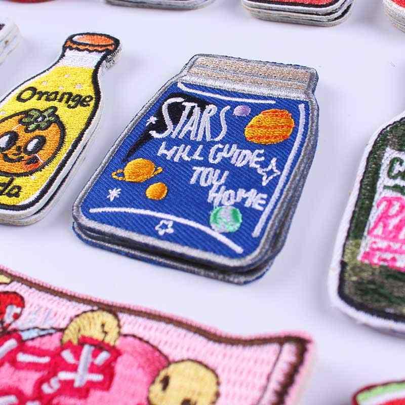 Pulaqi アニメアイアンでパッチ服ステッカーボトルかわいい刺繍衣料用パッチストライプ服猫動物パッチ