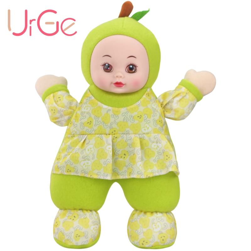 Պլյուշ կավային լցոնված մուլտֆիլմ կանաչ տանձի տիկնիկ Soft Silicone Reborn մանկական տիկնիկներ խաղալիքների համար երեխաների համար Ծննդյան տոնի նվեր URGE