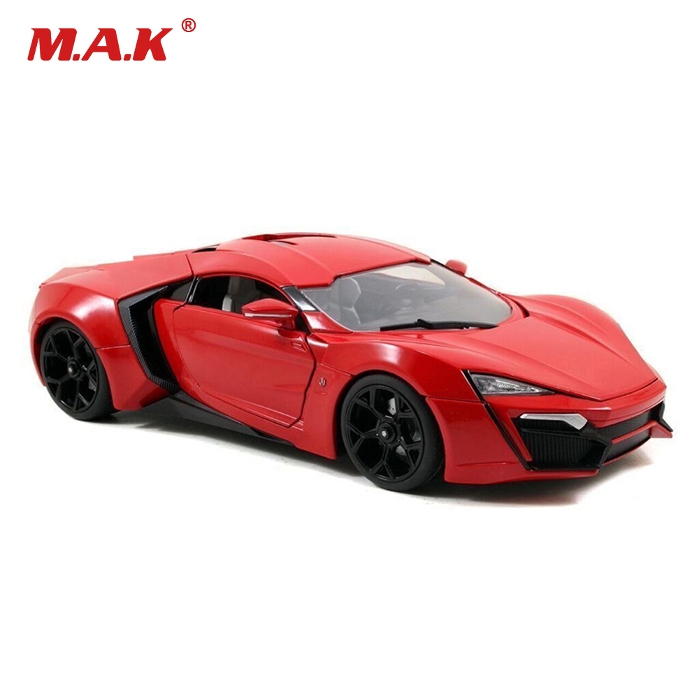 Kids toys 1/18 Scale diecast Alloy Sports Car 1:18 lykan hypersport Fast & Furious7 car toys for boys gift maisto jeep wrangler rubicon fire engine 1 18 scale alloy model metal diecast car toys high quality collection kids toys gift