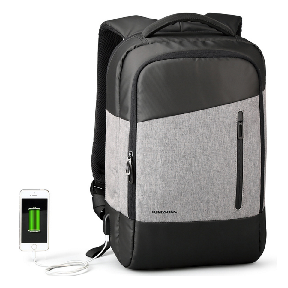 Kingsons USB Charging Laptop Backpack 15.6 inch Anti Theft Women Men School Bags For Teenage Girls College Travel Backpack dide cover anti theft backpack 14 inch laptop backpack pu leather school bags for teenage girls bag travel bag men women 787