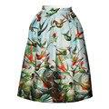 2016 mujeres del verano colorido hojas bird 3d impreso faldas sexy fiesta chica de falda de Cintura Alta Falda de Midi Círculo Saia Femininas