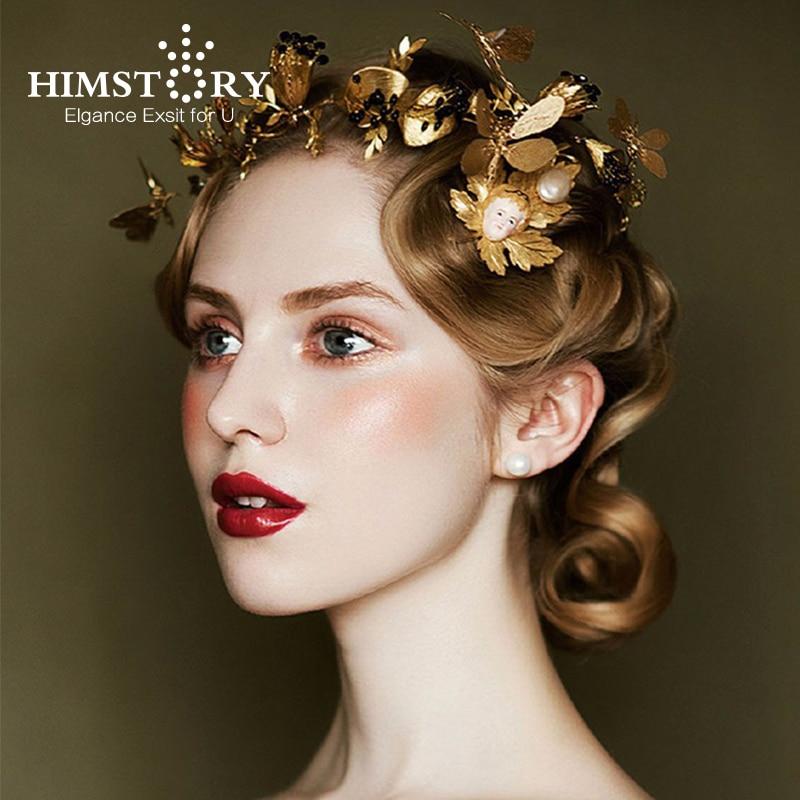 Black Wedding Hairstyles With Crown: HIMSTORY Baroque Gold Leaf Black Rhinestones Wedding Tiara