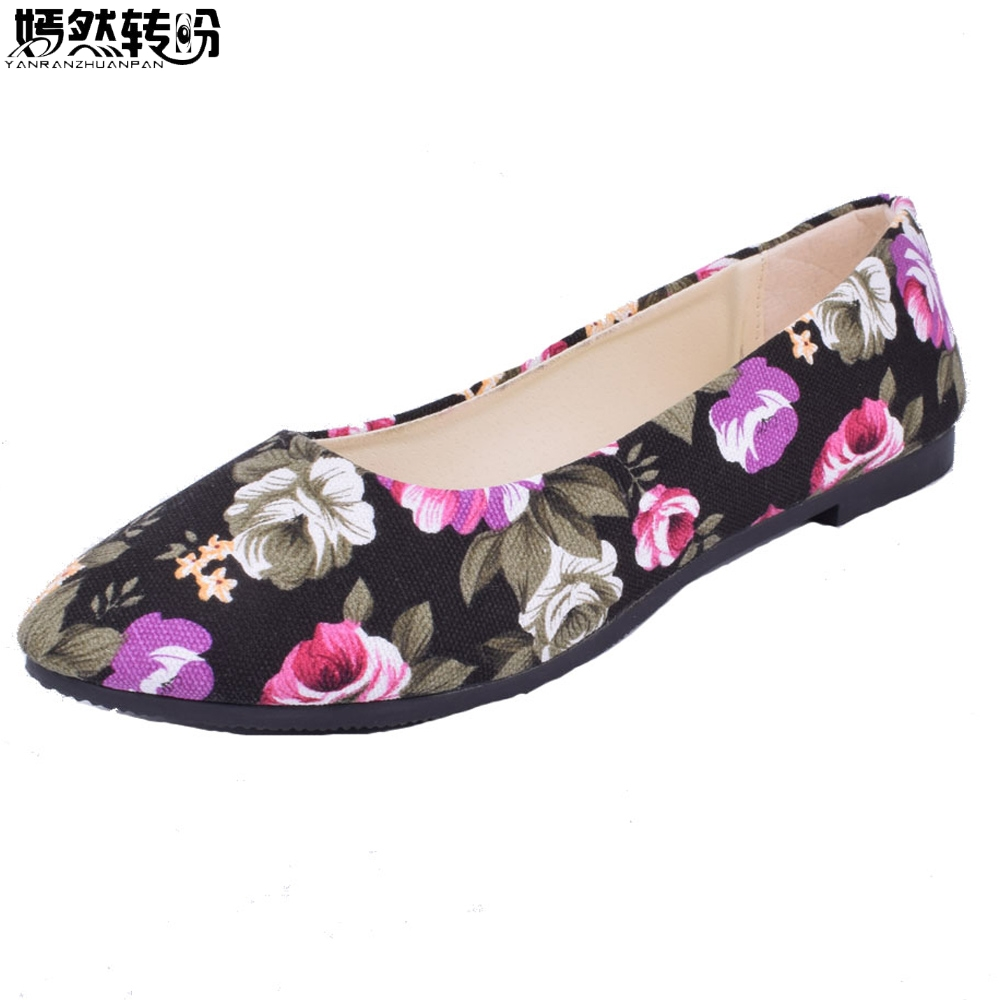 2018 Summer Shoes Women Flower Printed Flats Women's Loafers Ladies Soft Slip On Shoes Zapatos Mujer Plus Size 43 summer women ballet flats genuine leather shoes ladies soft non slip casual shoes flower slip on loafers moccasins zapatos mujer