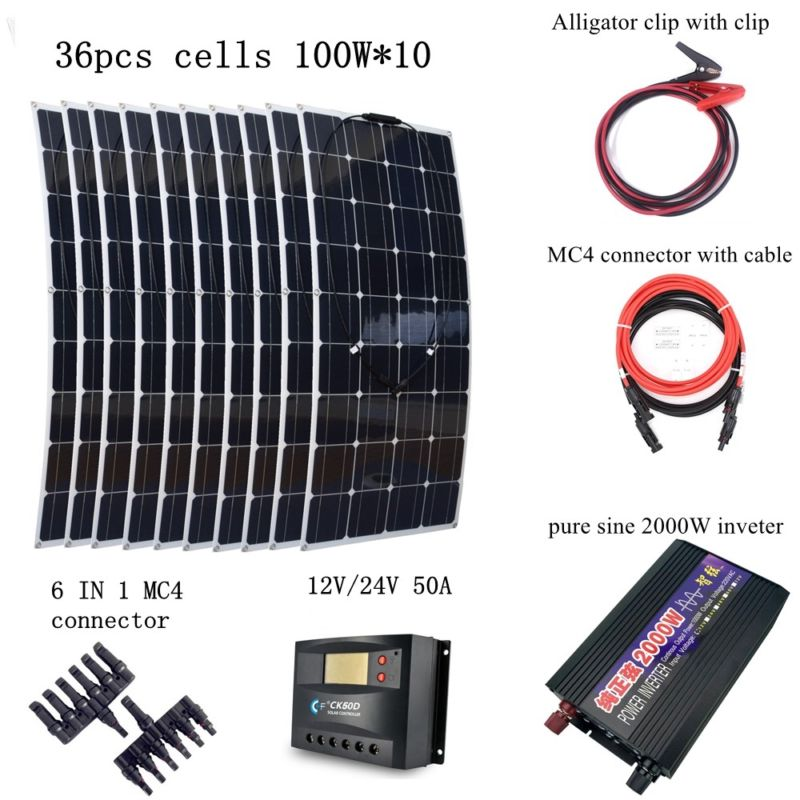 10*100W Flexible Solar Panel Module +Peak 2000W Pure Sine Wave Inverter with Extended Cables Houseuse 1000W Solar System