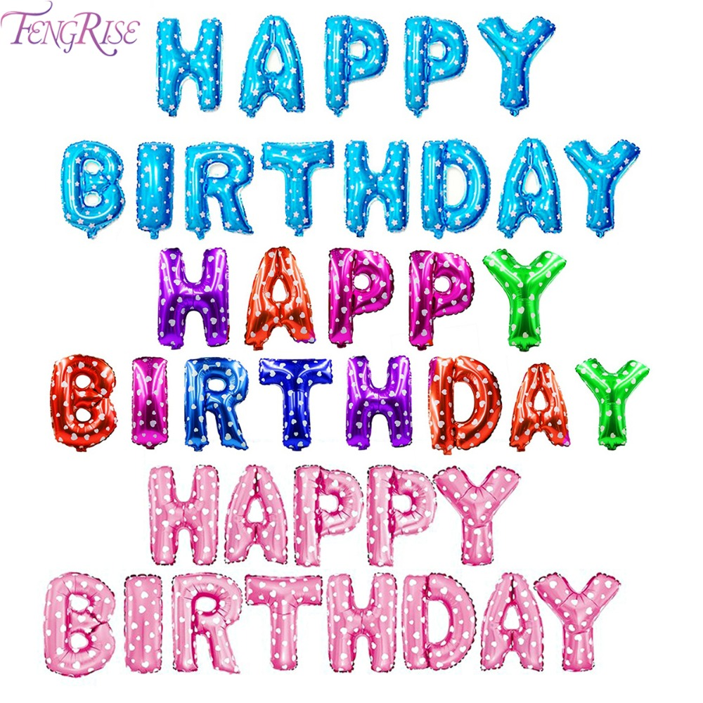 FENGRISE 16 Inch 13 Pieces Foil Letter Balloons Happy Birthday Party ...