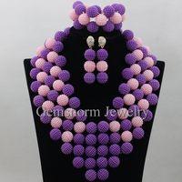 2017 Latest Purple Mix Pink Indian Jewellery Set African Beads Jewelry Set for Women Party Chunky Balls Set Free Shipping WA223
