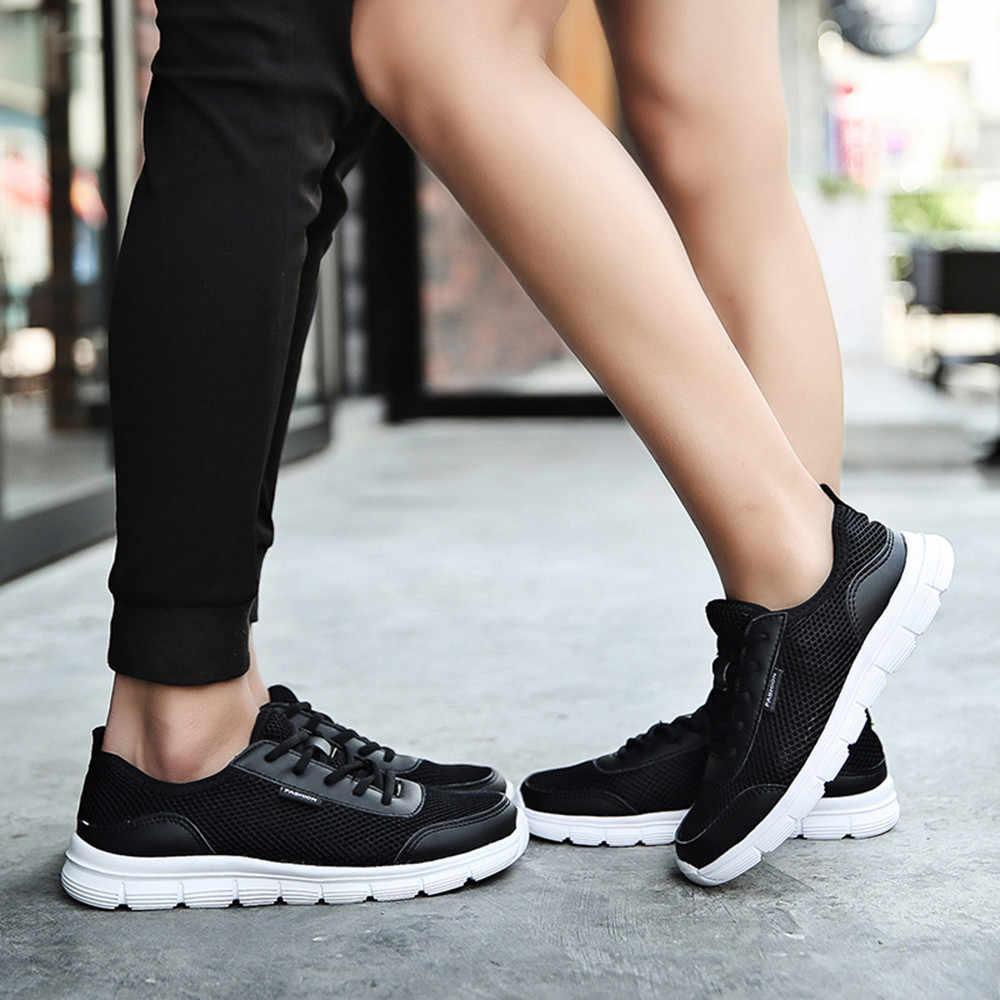 Erkek spor ayakkabı rahat no-deri koşu ayakkabıları nefes alan günlük ayakkabılar rahat dantel-up erkekler Mesh sneakers çift ayakkabı