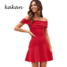 Kakan spring new womens dress ruffled word collar sexy yellow red wine black