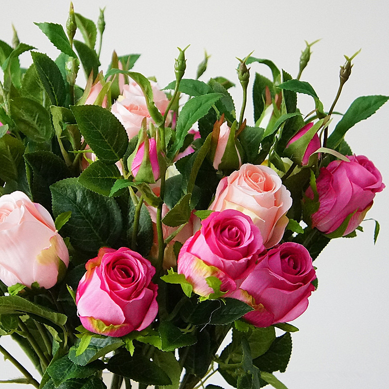 Best buy ) }}Beautiful New rose branch artificial flowers silk 3