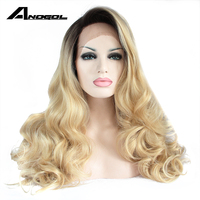 Anogol Glueless Synthetic Lace Front Wig Long Body Wave Golden Blonde Ombre Dark Roots Heat Resistant Fiber Hair Wigs For Women