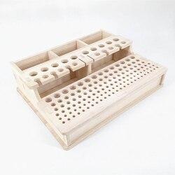 Madera Soild DIY hecha a mano cosido caja de almacenamiento de cuero tallado bolsos de mano cortar Caja de Herramientas soporte de herramientas de impresión