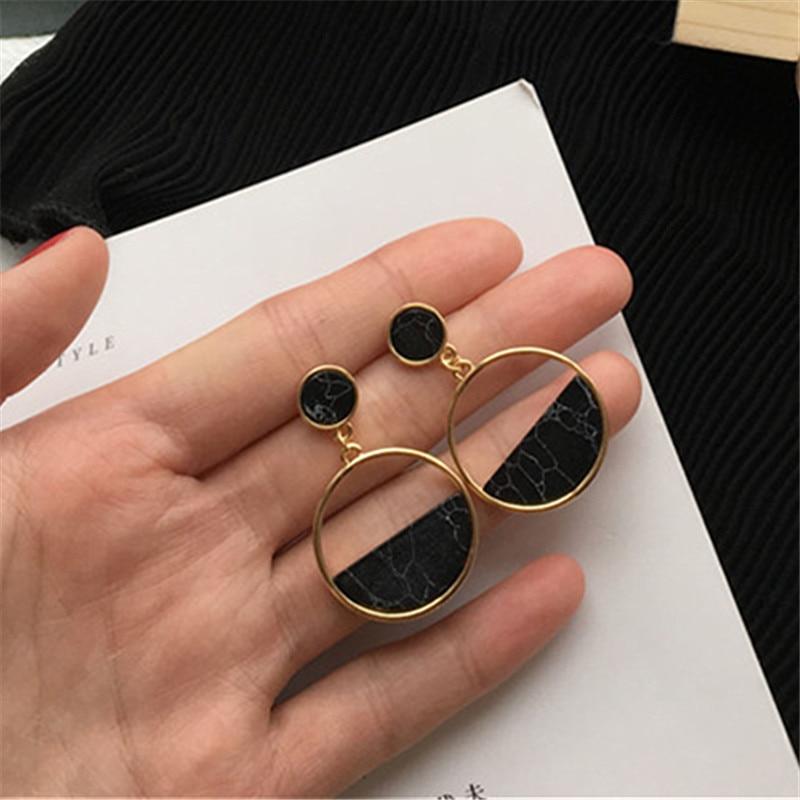 Handmade fashion simple geometric circular marble long earrings girls popular earrings earrings temperament EE88(China)