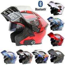 Motorcycle Dual Visor Full Face Modular Flip Up Bluetooth Helmet Motocross Street Bike Racing