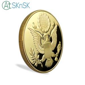 Image 5 - 10 sztuk/partia pozłacane pamiątkowe monety piramidę majów Regalia amerykański jednym okiem otwartym, pamiątkowe monety kolekcje prezenty 40*3mm