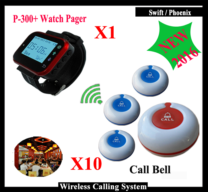 Wireless Restaurant-pager system ( 1pcs Red Pager Watch and 10pcs Ringer call bell) restaurant pager watch wireless call buzzer system work with 3 pcs wrist watch and 25pcs waitress bell button p h4