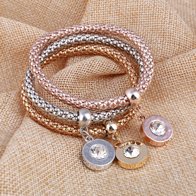 Cubic Zirconia Crystal Charm Bracelet Homme U Pick Stylish Round Pendant Bracelets for Women 3pcs/lot Wholesale Pulsera