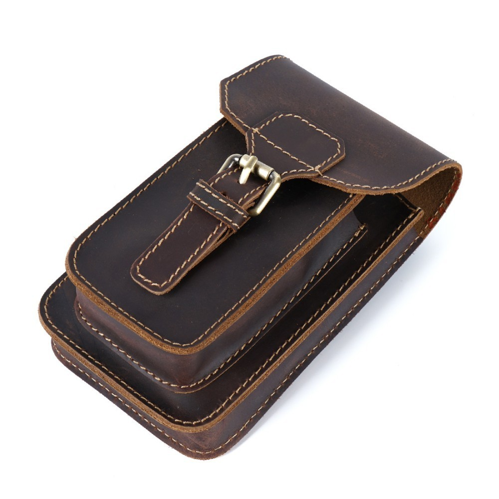 Moterm Genuine Leather Waist Bag Small Hook Fanny Pack Pouch Bag For Men Vintage Travel Waist Pack Male Small Waist Bag