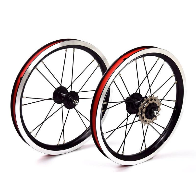 14 Inch Aluminum Wheelset BMX 5 Bearing 3 Speed Hub 74mm 84mm Kids Balance Bike Black