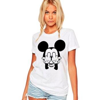 T-shirt Femme Mickey Mouse doigts d'honneur