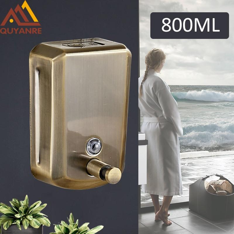 Quyanre Antique Bronze 800ml Liquid Hand Soap Dispenser Stainless Steel Wall Mounted Bathroom Accessories Pump Sanitizer Kitchen