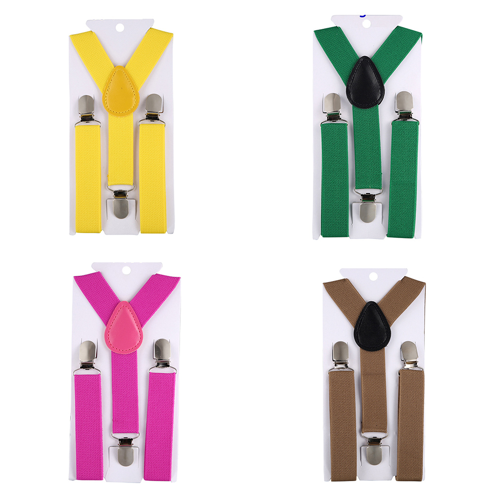 22 Colors Elastic Cotton Suspenders Men Children 3 Clips Y-Back Braces Bow Knot Suspender Kids Adjustable Clothing Accessories